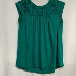 Green Merona lace accented top size medium